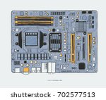 motherboard  colorful hand... | Shutterstock .eps vector #702577513