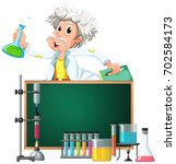 old  scientist in the lab... | Shutterstock .eps vector #702584173