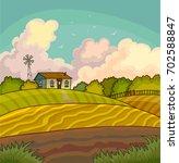farm rural landscape with field. | Shutterstock . vector #702588847