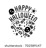 happy halloween logo with... | Shutterstock . vector #702589147