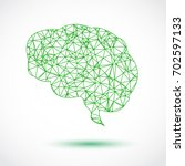 abstract green brain mesh on... | Shutterstock .eps vector #702597133