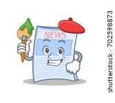 artist newspaper character... | Shutterstock .eps vector #702598873