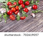 vegetable grocery on a wooden... | Shutterstock . vector #702619057