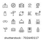 premium set of travel line... | Shutterstock .eps vector #702640117