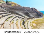 assos antique amphitheatre.... | Shutterstock . vector #702648973