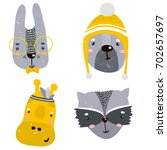 set of four cute animal faces.... | Shutterstock .eps vector #702657697