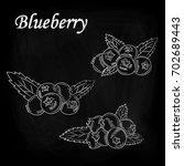 blueberries drawn chalk on a... | Shutterstock .eps vector #702689443