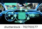 cockpit of autonomous car. self ... | Shutterstock . vector #702703177