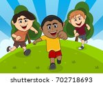 children playing at the park...   Shutterstock .eps vector #702718693