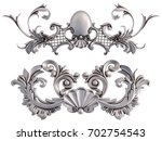 chrome ornament on a white... | Shutterstock . vector #702754543