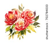 Stock photo bouquet of three red roses with foliage watercolor painting wedding and birthday drawings 702784033