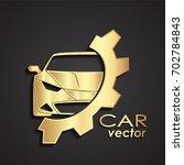 3d golden car and gear logo