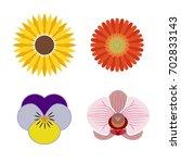 logo set of graphic flower... | Shutterstock .eps vector #702833143