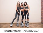 team of happy fitness friends.... | Shutterstock . vector #702837967