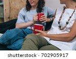 two women friends talking to... | Shutterstock . vector #702905917