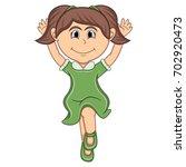 a girl jump cartoon vector...   Shutterstock .eps vector #702920473