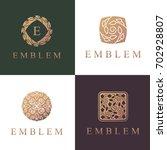 floral logo set. flower icon.... | Shutterstock .eps vector #702928807