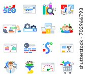 seo  set of icons on the theme... | Shutterstock .eps vector #702966793