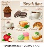 chocolate cupcake  oreo cookies ... | Shutterstock . vector #702974773