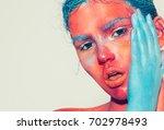 body art woman face portrait ... | Shutterstock . vector #702978493