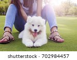 happy woman playing in the park ... | Shutterstock . vector #702984457