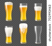 Set of photo realistic beer mugs isolated on transparent background. Vector illustration with glass of beer of different fullness