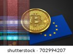 3d illustration of bitcoin over ... | Shutterstock . vector #702994207