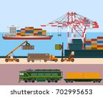 container ship at freight port... | Shutterstock .eps vector #702995653