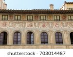 Small photo of Exterior Frescoes of the Palazzo dell' Antella located on the Piazza di Santa Croce in Florence were created in the 17th century.