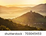 romantic morning scenery  ... | Shutterstock . vector #703045453