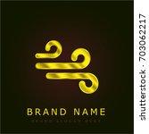 wind lines golden metallic logo