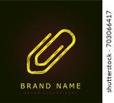 paper clip golden metallic logo