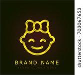 baby girl golden metallic logo
