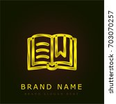 open book golden metallic logo