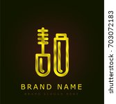 mascara golden metallic logo