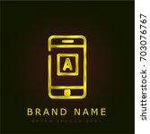 mobile app golden metallic logo | Shutterstock .eps vector #703076767