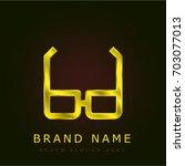 glasses golden metallic logo
