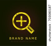 zoom in golden metallic logo