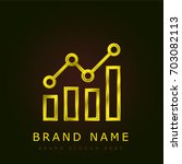 bar chart golden metallic logo