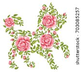 vector dog with floral ornament.... | Shutterstock .eps vector #703085257