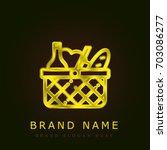 basket golden metallic logo