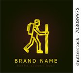 hiker golden metallic logo
