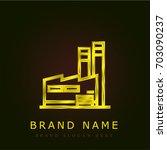 factory golden metallic logo