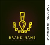 pixel golden metallic logo