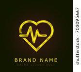 cardiogram golden metallic logo