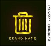 trash golden metallic logo