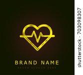 heartbeat golden metallic logo