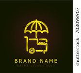 ice cream golden metallic logo