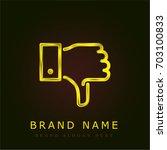 thumb down golden metallic logo