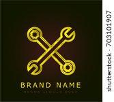 wrench golden metallic logo